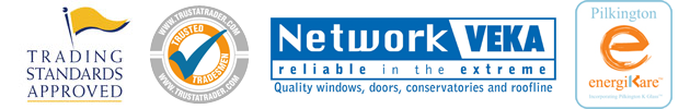 Logos About Us - Trading Standards Approved, Trusta-Trader ,Network Veka & Pilkington Energicare