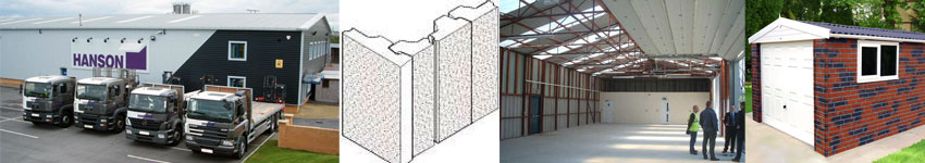 Image showing Hanson Garage factory, commercial building project, interlocking panels and brick clad garage